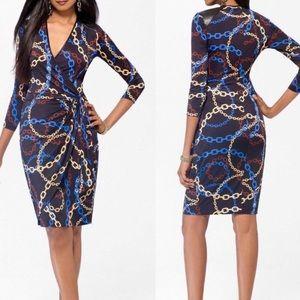 Cache Chain Print Wrap Dress